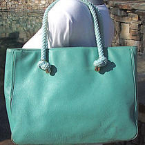 Kate Spade Rue Rope Straps Nautical Tote Aqua Blue Green Leather Great Color Photo