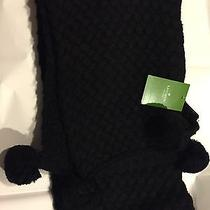 Kate Spade Scarf Black Luxe Knit Set Winter Nwt Photo
