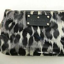 Kate Spade Small Animal Print Ocelot Black Gray W Chain Zip Pull Coin Purse Euc Photo