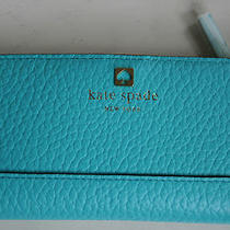 Kate Spade Stacy Southport Ave Aqua Adriatic Leather Clutch Wallet  Nwt Photo