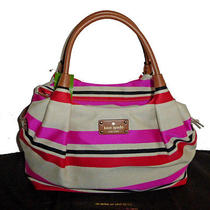 Kate Spade Stevie Oak Island Natural Multi Pink Red Stripe Tote Handbag &dustbag Photo