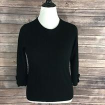 Kate Spade Sweater Black Wool Cashmere Bow Size S Photo