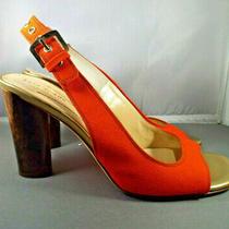 Kate Spade Sz 8m Fabric Leather Slingback Heels Red Orange Photo