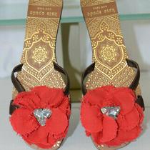 Kate Spade Sz 9m Red Flower Rhinestone Flip Flop Flats Brown Leather Gold Sandal Photo