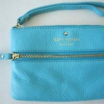 Kate Spade Teal/blue Cross Hatch Leather Clutch Wristlet Coin Purse Wallet Photo