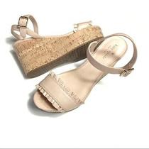 Kate Spade Tomas Nude Blush Beige Leather Wedge Sandals 9.5 New Photo