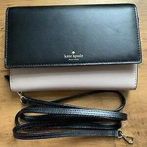 Kate Spade Wallet on a Chaincrossbodyclutchwocleather Black/beige Color Photo