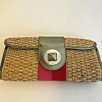 Kate Spade Wicker Straw Clutch Leather Trim Silver Pink Red Purse Handbag Hot  Photo