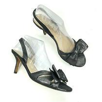 Kate Spade Women Size 8.5b Metallic Bow Peep Toe Slingback Heel Sandals Black Photo