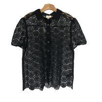 Kate Spade Womens Bloom Flower Lace Top Blouse Large L Black  Nwt Photo