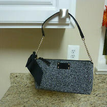 Kate Spade  Womens Purse Wool With Bow  Small Black/ivory  Great Shape Photo