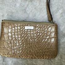 Kate Spade Wristlet Wallet Tan Gold Croc 100% Leather Top Zipper Photo