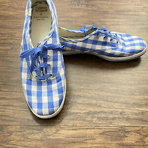 Kate Spade X Keds Womens Gingham Blue  Sneakers Size 9 Photo
