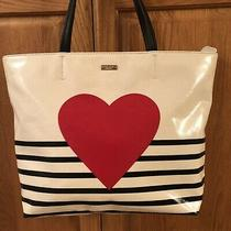 Kate Spade Yours Truly Red Heart Stripe Hallie Tote Bag Shoulder Purse New Photo