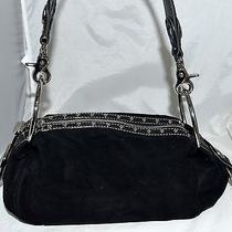 Kathy Van Zeeland Black Faux Suede Leather Croc Bracelet Wristlet Shoulder Bag Photo