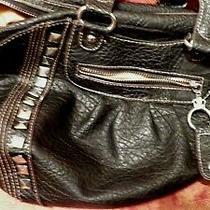 Kathy Van Zeeland Black Purse Vinyl Textured/studs Zipper/pockets Medium Size  Photo