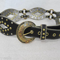 Kathy Van Zeeland Black With Brass Studs & Crystals Belt Womens Small B01005 Photo