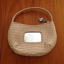 Kathy Van Zeeland Bone Mini Patent Croco Embossed Purse Mirror Key Ring Charm Photo