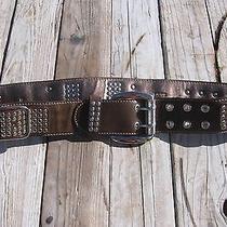 Kathy Van Zeeland Brown Metal Silver Tone Embellished Belt Size M Leather Photo