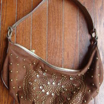 Kathy Van Zeeland Brown Shimmery Hobo Purse W/big Rhinestones Photo