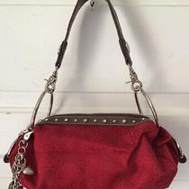 Kathy Van Zeeland Gold Big Rings Barrel Red Canvas Handbag Purse W/ Charms Photo