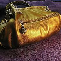 Kathy Van Zeeland Gold Faux Leather Handbag Chrome Studs and Rings Gently Used Photo