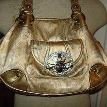 Kathy Van Zeeland Gold Purse/ Shoulder Bag Satin Size Mediumhobo Macys Photo