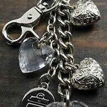 Kathy Van Zeeland Key Chain Ring Puffy Heart Crystal Charms Purse Accessories Photo