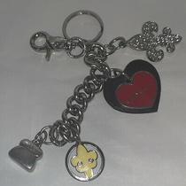 Kathy Van Zeeland Keychain Leather & Silver Tone Metal Heart Keychain Ring Charm Photo