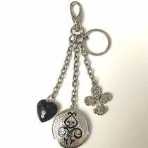 Kathy Van Zeeland Keychain With Fleur De Lis Heart and Round Pendant Charms Photo