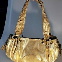 Kathy Van Zeeland Metallic Gold Studded Satchel Shoulder Tote Handbag Photo