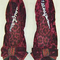Kathy Van Zeeland New Burgandy Red Crushed Velvet Stud Bow Ballet Flat Shoe 7.5 Photo