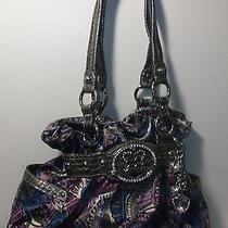 Kathy Van Zeeland Purple Paisley Print Tote Shoulder Bag Lots of Charms Photo