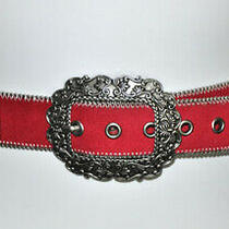 Kathy Van Zeeland Red & Silver Stud Faux Suede/leather Belt sz.l Bo2005 Photo