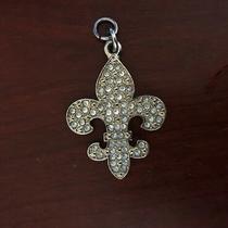 Kathy Van Zeeland Rhinestone Fleur De Lis Heart Charm Key Ring  Charm (Saints) Photo