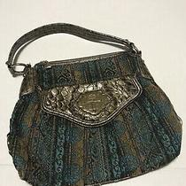 Kathy Van Zeeland Shoulder Purse Hobo Bag Turquoise Brown Gold Crown  Zip Clutch Photo