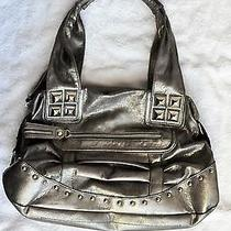 Kathy Van Zeeland Silver Stud Bolt Metallic Hobo Tote Shoulder Bag Purse 129 Ec Photo