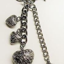 Kathy Van Zeeland Silver Tone Keyring Charm 3 Hearts Key Chain Handbag Ring Photo