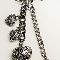 Kathy Van Zeeland Silver Tone Keyring Charm 3 Hearts Key Chain Handbag Ring Photo