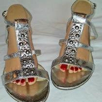 Kathy   Van Zeeland Silver Wedge Heel Shoes Size 9 M Photo