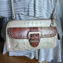 Kathy Van Zeeland Tan Croco Cross Body Wristlet Clutch Style Bag Euc Lower  Photo