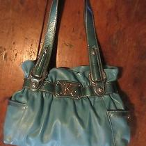 Kathy Van Zeeland Turquoise Handbag Faux Leather With Chrome Hardware Photo