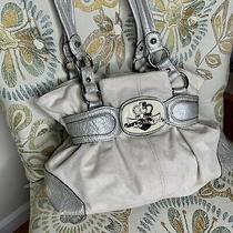 Kathy Van Zeeland Vegan Leather With Emblem Hobo Purse Bag Handbag White Cream Photo