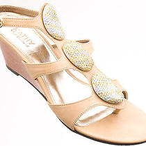 Kathy Van Zeeland Women Shoes Goldie Wedge Sandal 8.5 Camel New in Box  Photo