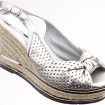 Kathy Van Zeeland Women Shoes Sakura Espadrille Wedge 7 Silver New in Box  Photo