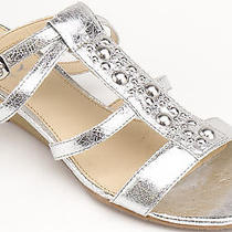 Kathy Van Zeeland Women Shoes Sheer Gladiator Sandal 6 Silver New in Box  Photo
