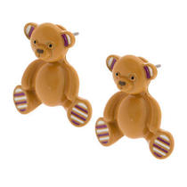 Katy Perry Teddy Bear Front and Back Earrings Prism Collection Brown Bear Nwt Photo