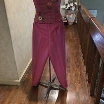 Kau Unger X  2 Pc  Silk  Hot Pink Pants & Strapless Embroidered Tweed Top Set 4 Photo