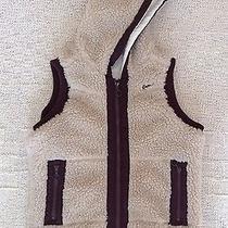 Kavu Deep Pile Hooded Oatmeal Natural Fleece Vest Lined Womens M Made in Usa Photo