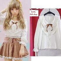 Kawaii Cute Lolita Fantasy Slim Bows Short Sleeve Lace Blouse Shirt Top White Photo